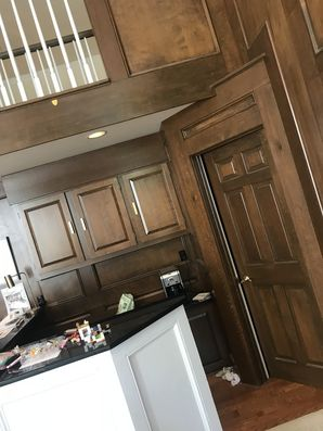 Wood to White Interior Painting Conversion BEFORE in Mt. Lebanon, PA (2)