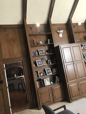 Wood to White Interior Painting Conversion BEFORE in Mt. Lebanon, PA (3)