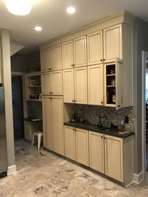 Before & After Cabinets Painted in Edgewood, PA. From off-white to a beautiful white & gray! (3)
