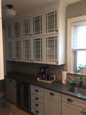 Before & After Cabinets Painted in Edgewood, PA. From off-white to a beautiful white & gray! (6)